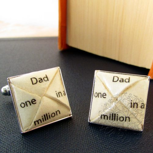 "Dad ""one in a million"" cufflinks, hand folded in London, by the origami boutique."