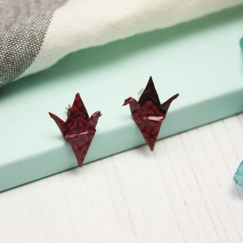 Deep Purple Geometric Crane earrings, made from water resistant paper. Handmade from water resistant paper, by the origami boutique.