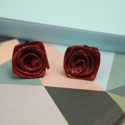 Deep red origami roses earrings, folded from water resistant paper. Handmade by the Origami boutique.