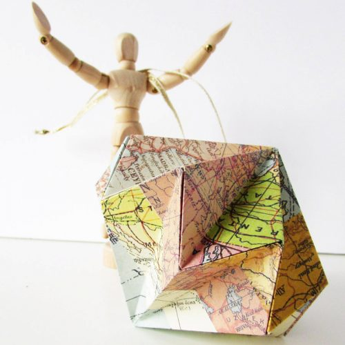 Maps diamond origami ornament, handmade by the origami boutique, London.