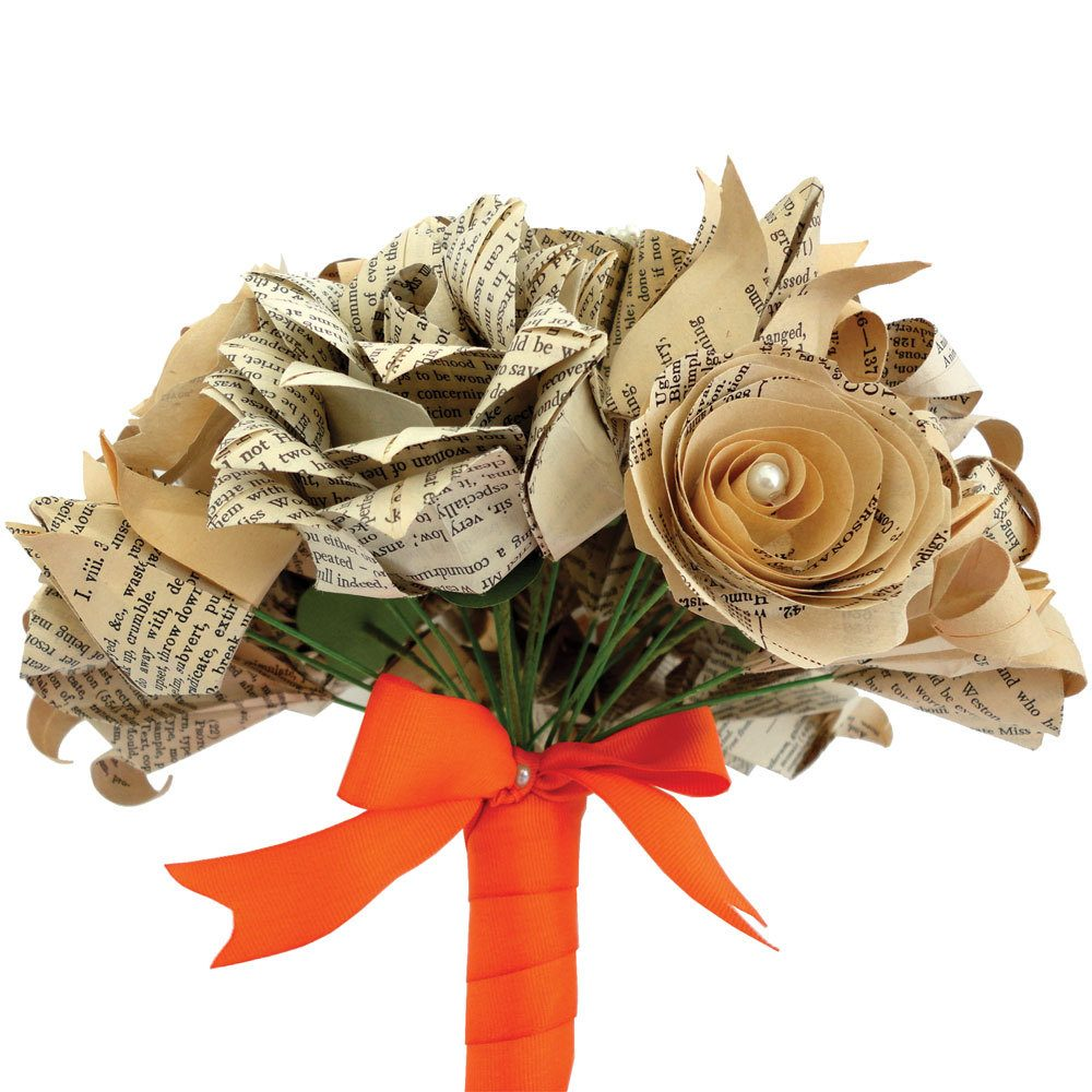 Origami flower bouquet, handmade from book pages, by the origami boutique, London.