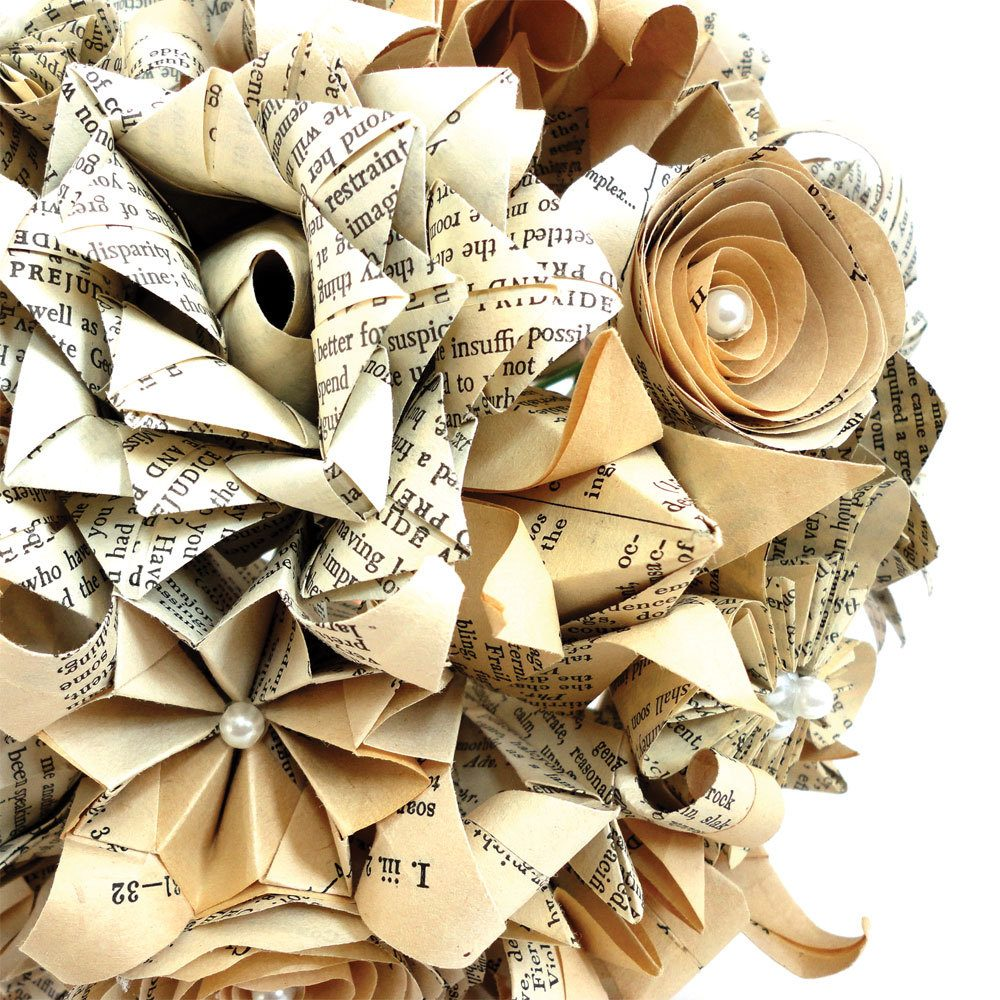 Hand folded, origami, paper bouquet. Hand made from recycled book pages, by the origami boutique, London.