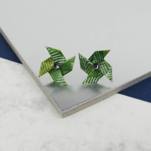Folliage Pinwheel Studs with rhinestone center. Origami Earrings hand folded by the Origami Boutique.