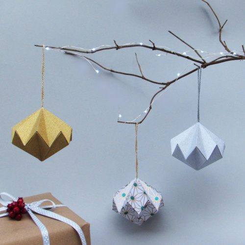Glitter Christmas Origami Ornaments/ Decorations. Hand folded by the origami boutique.