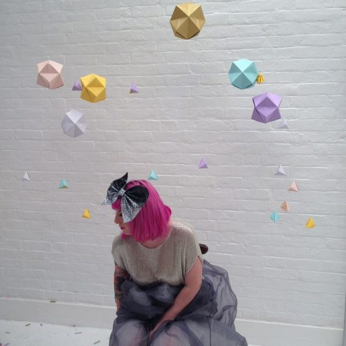 Geometric Origami Paper Hanging Backdrop, Wedding Decoration, Handmade by the Origami Boutique, London.