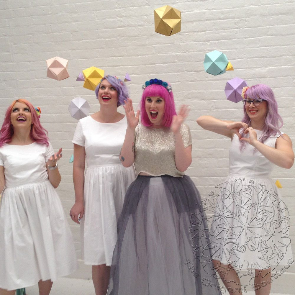 Geometric Origami Paper Hanging Backdrop, Wedding Decoration in pastel tones, hand folded by the origami boutique.