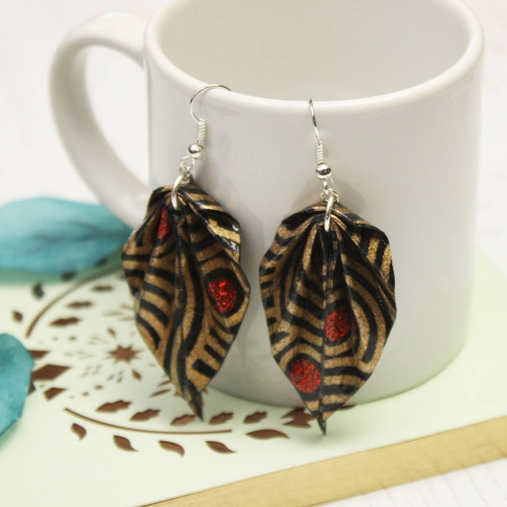 Gold and black washi origami earrings. Water resistant jewellery, handmade by the origami boutique.