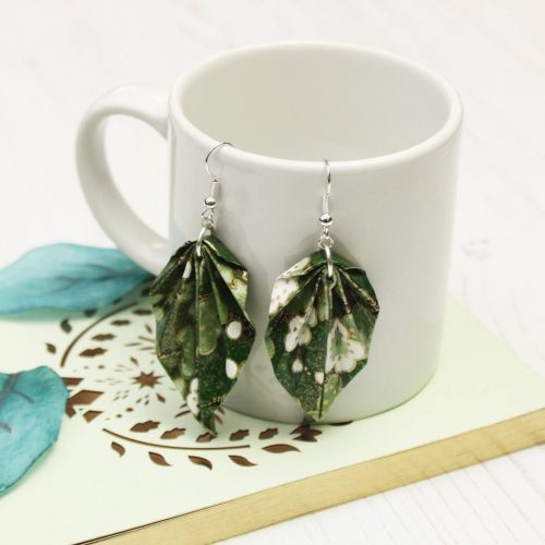 Green foliage origami hanging leaf earrings.