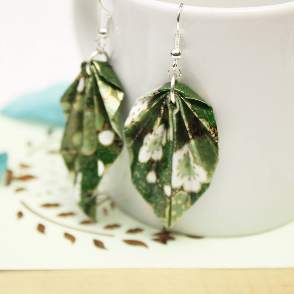 Green foliage origami hanging leaf earrings.