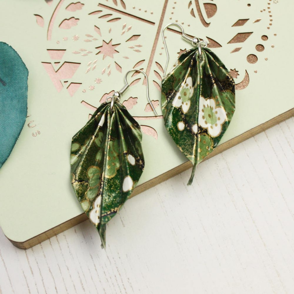 Botanical print leaf earrings by the origami boutique, London.