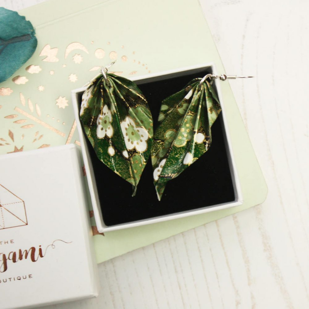Green foliage origami hanging leaf earrings. In presentation box, by te origami boutique, London.