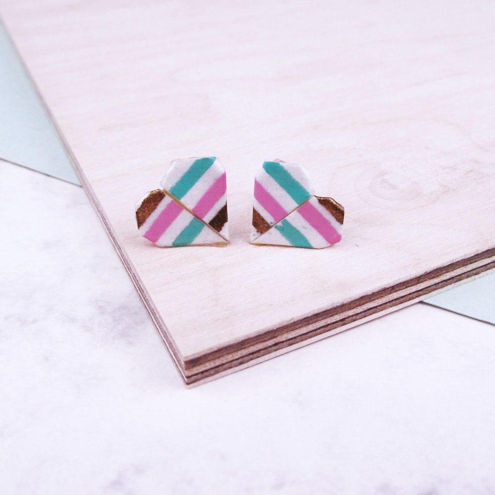 Candy summer stripe origami heart stud earrings.