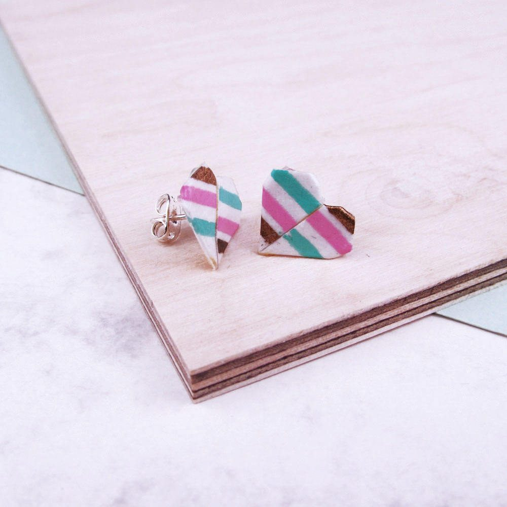 Side view of origami heart stud earrings. By the origami boutique, London