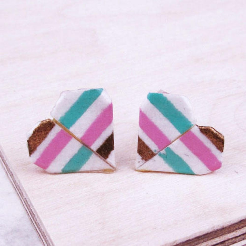 Origami heart stud earrings close up, in summer candy stripe.