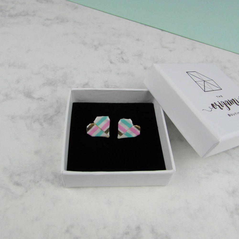 Summer candy stripe origami earrings in white presentation box.