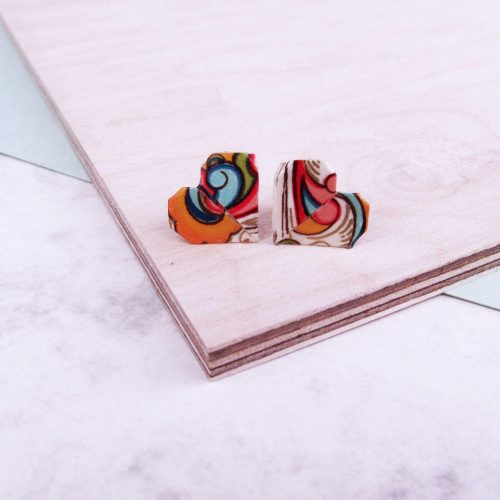 Colourful abstract heart stud earrings, folded origami from water restistant paper, by the origami boutique.