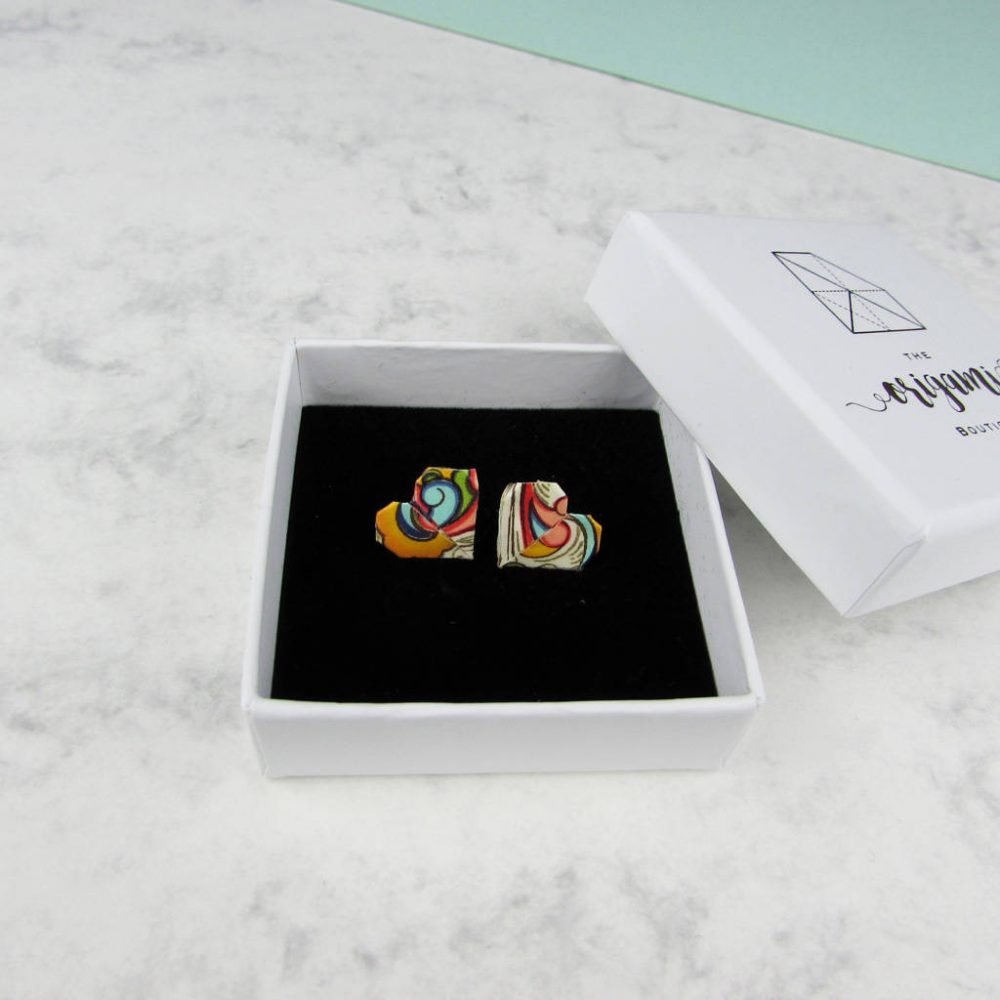 Colourful abstract pattern heart earrings, in white jewellery box.