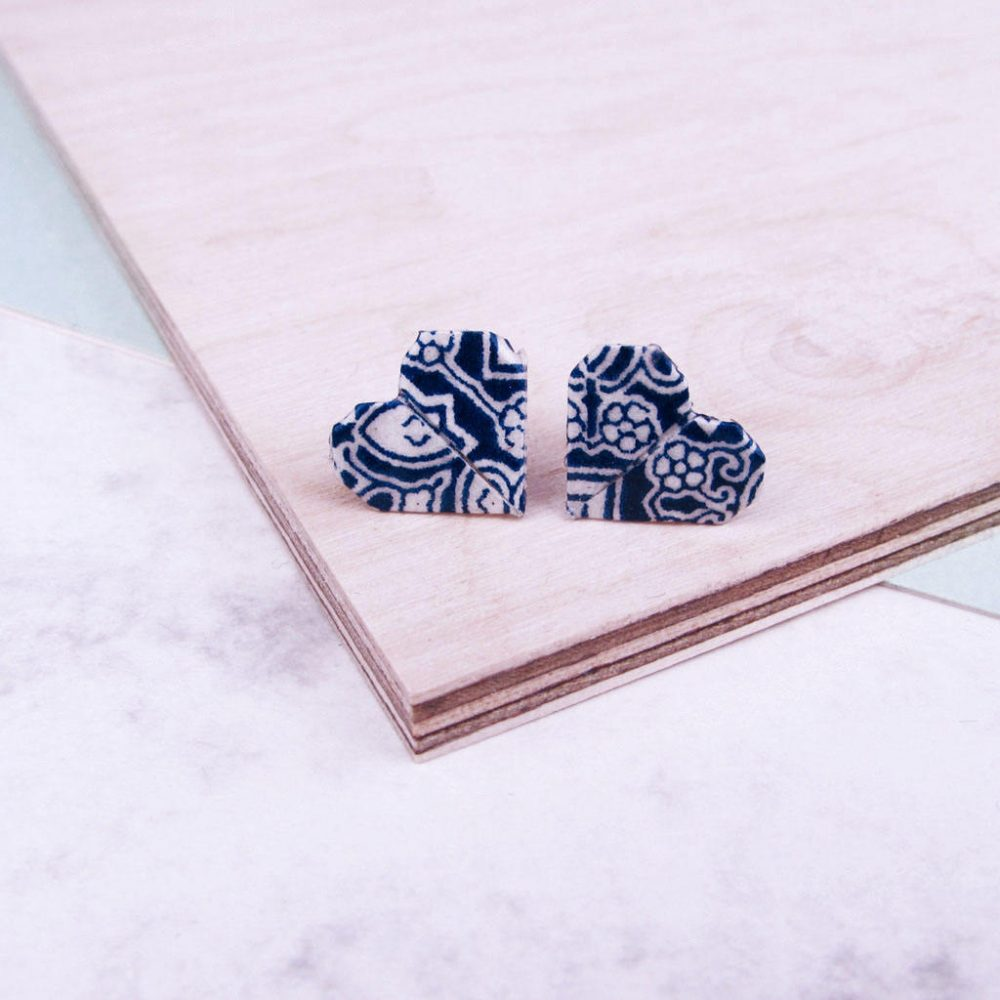 Blue tiles pattern, origami heart earrings. Water resistant and hand folded in London, by the Origami Boutique.