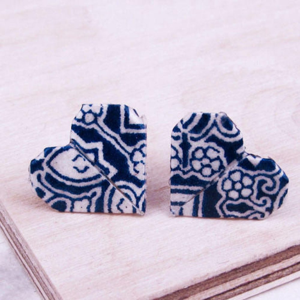 Close up of Blue tiles pattern, origami heart earrings. Water resistant and hand folded in London, by the Origami Boutique.