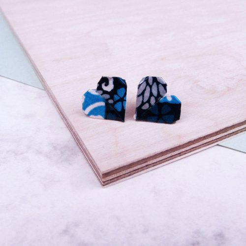 Blue tiles print earrings, folded into origami hearts, by the origami boutique.
