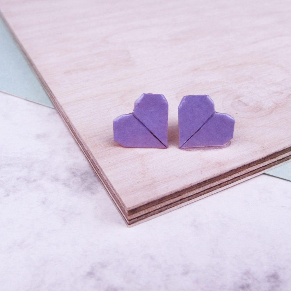 Lilac origami heart earrings, folded with love by the origami boutique, London.