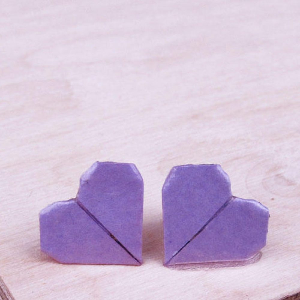 Close up of the origami boutique's lilac heart earrings.