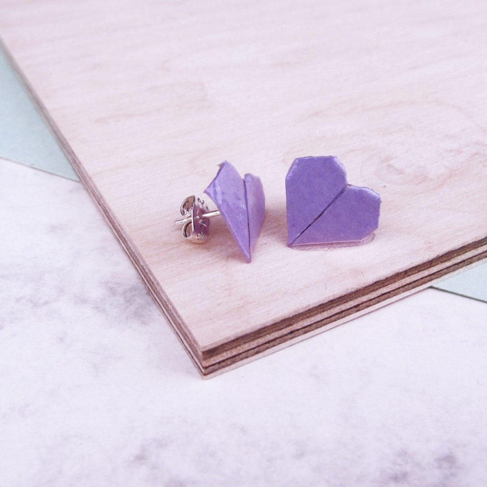 Lilac heart origami earrings, handmade by the origami boutique.
