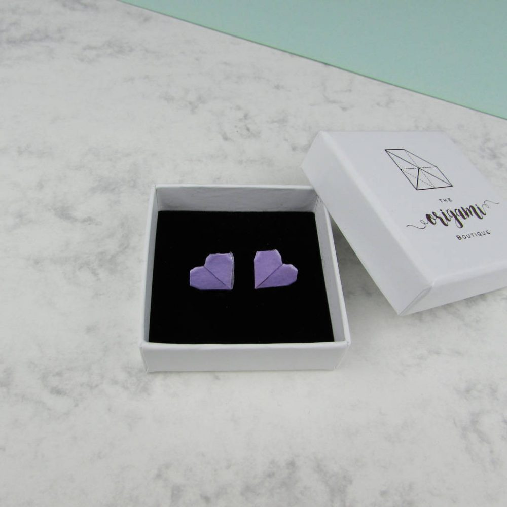 Lilac origami earrings, handmade by the origami boutique, london, and delivered in a white presentation box.