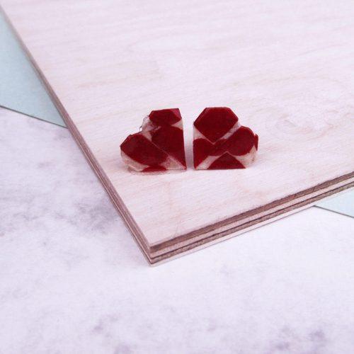 Heart stud earrings, in love heart pattern, by the origami boutique, London.
