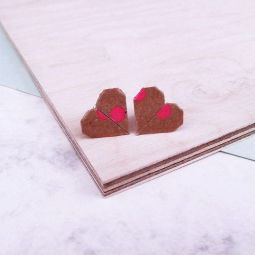 Pink and kraft polka dot heart earrings, the origami boutique london.