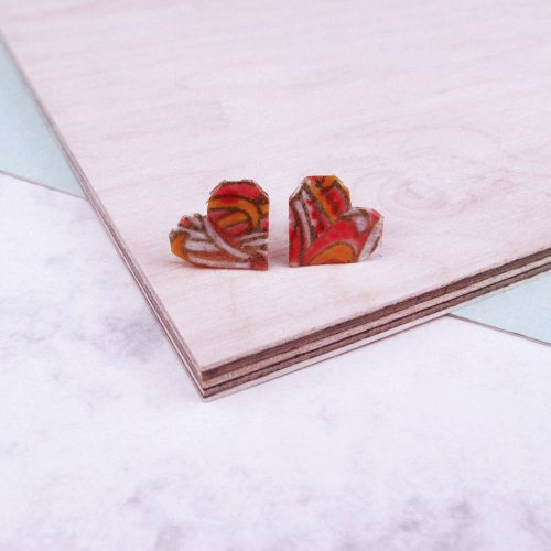 Heart Earrings in Salmon burst pink. Handmade by the origami boutique.
