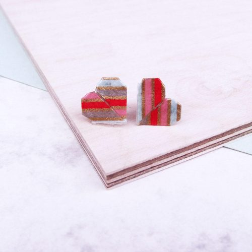 Glitter bright heart origami earrings, versatile and water resistant, by the origami boutique.