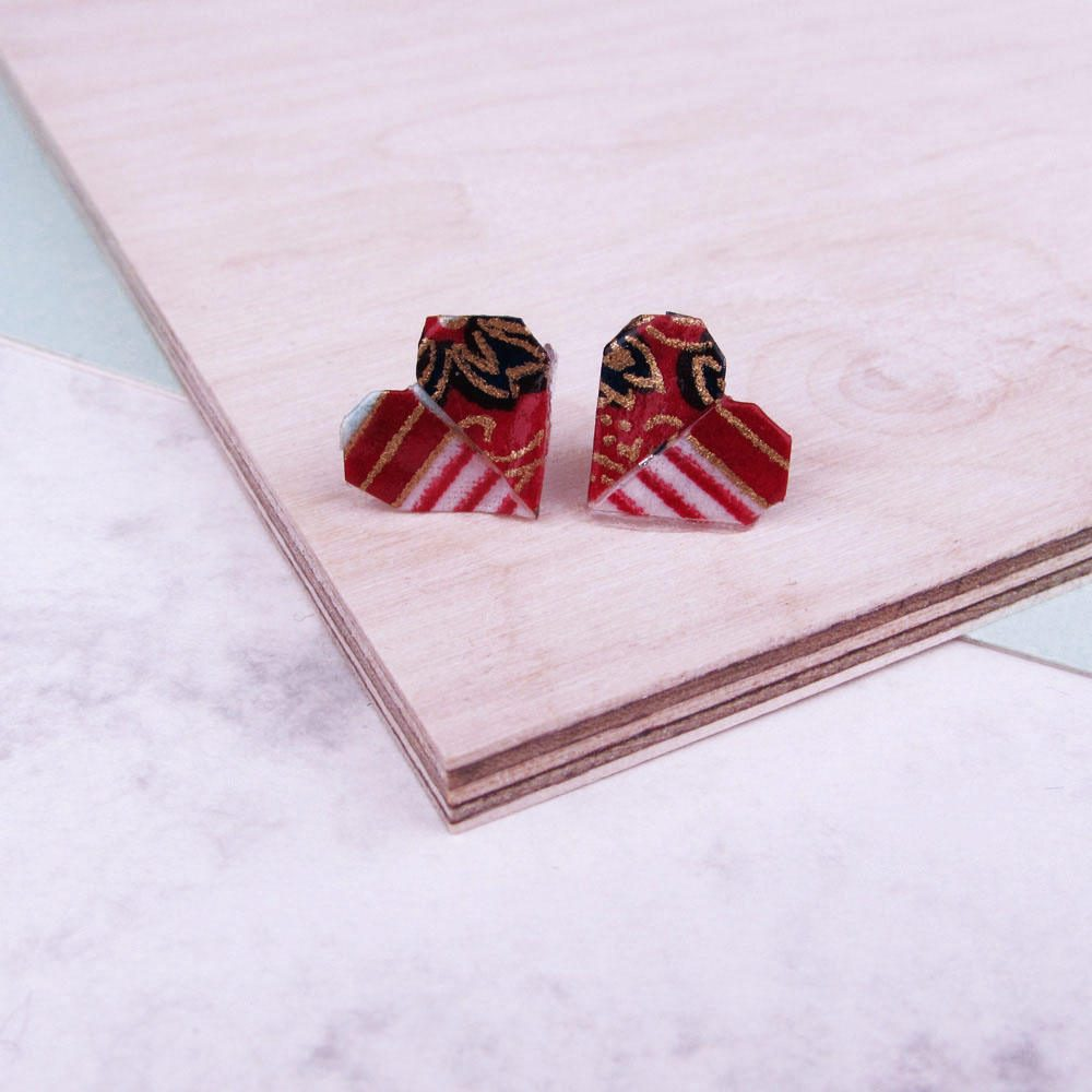 Versatile and water resistant, heart folded earrings, in red, white, and gold.