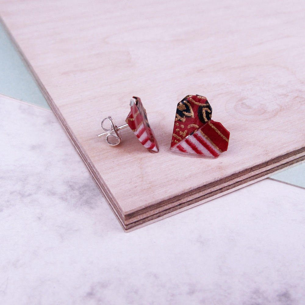 Versatile and water resistant, heart folded earrings, in red, white, and gold. Hand folded by the origami boutique.