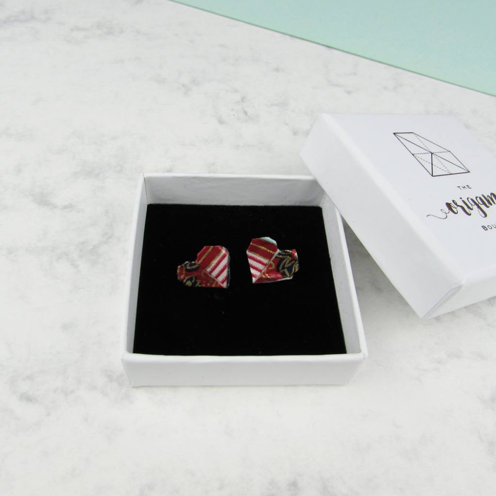 Versatile and water resistant, heart folded earrings, in red, white, and gold. Hand folded in a gift box, by the origami boutique.