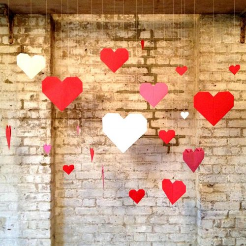 Origami hearts party/wedding backdrop.