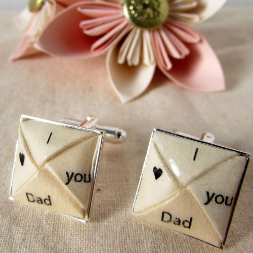 I love you dad cufflinks, handmade by the origami boutique, london.