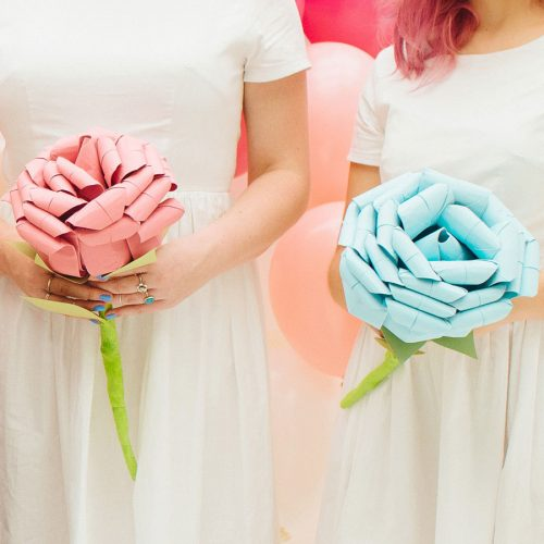 Giant origami bridesmaid or bride wedding bouquet. Handmade by the origami boutique.