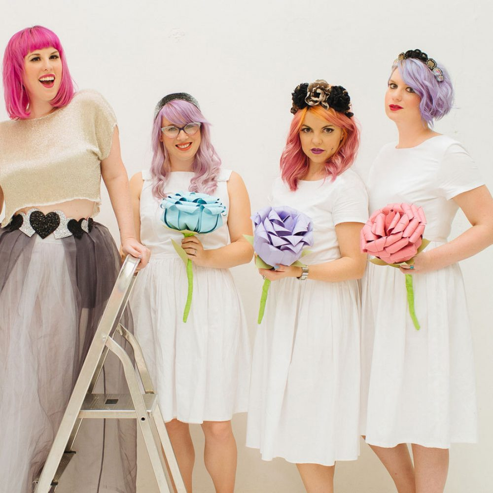Handmade giant paper bouquets for bride or bridesmaids. Handmade by the origami boutique.