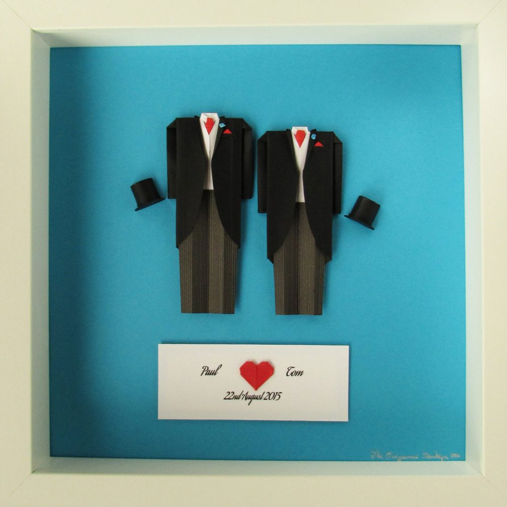 Mr & Mr First Wedding Anniversary LGBT Couple Custom Made Frame. Exclusive to the Origami Boutique, London.