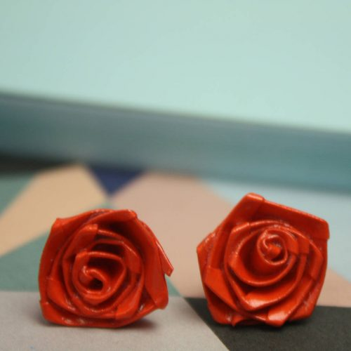 Orange Rose Stud origami earrings. Water resistant, and handmade by the origami boutique, London.