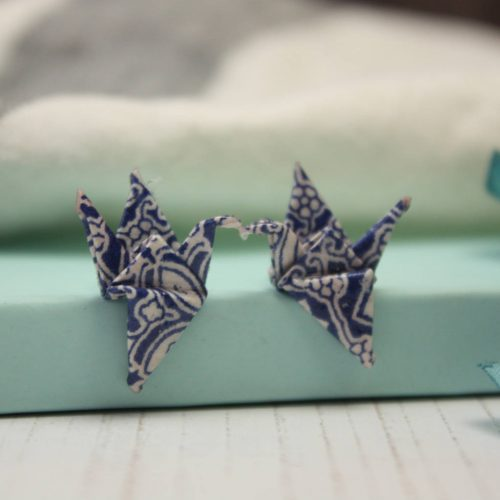 Origami crane earrings in blue tile pattern. Studs, hand folded by the origami boutique, London.