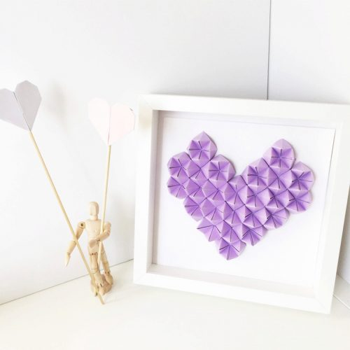3d Origami Wall art. Framed lilac heart by the origami boutique London.