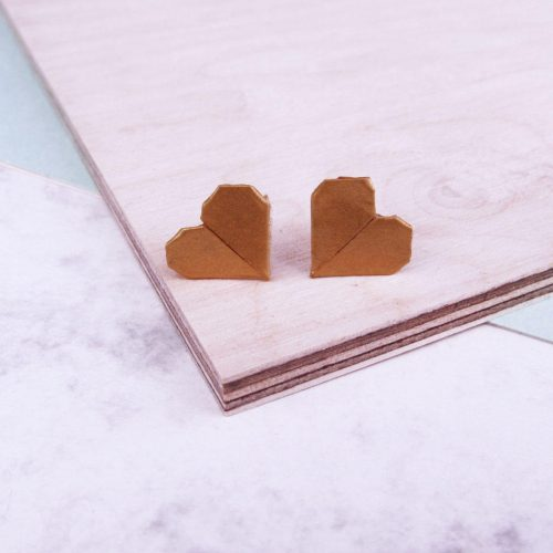 Origami metallic gold paper stud earrings, by the Origami Boutique, London.