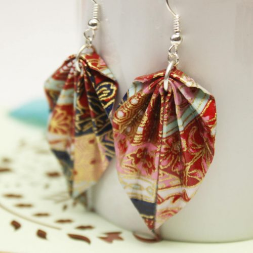 Ornate origami leaf earrings, handmade by the origami boutique.