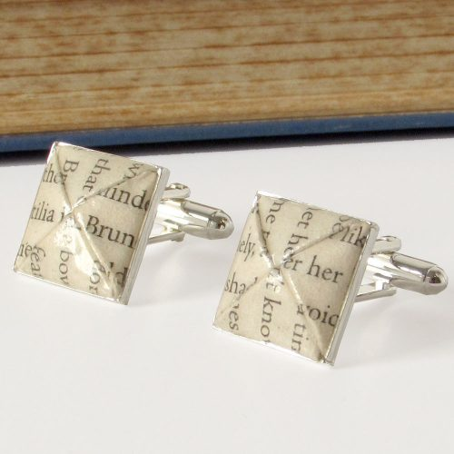Paper cufflinks, first wedding anniversary gift for him. Handmade by the origami boutique.