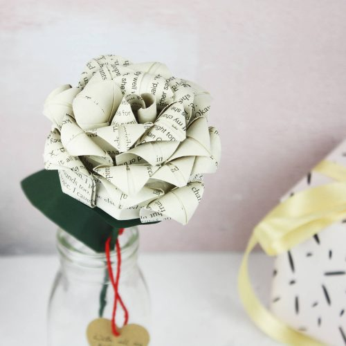 Personalised book paper rose for first wedding anniversaries.