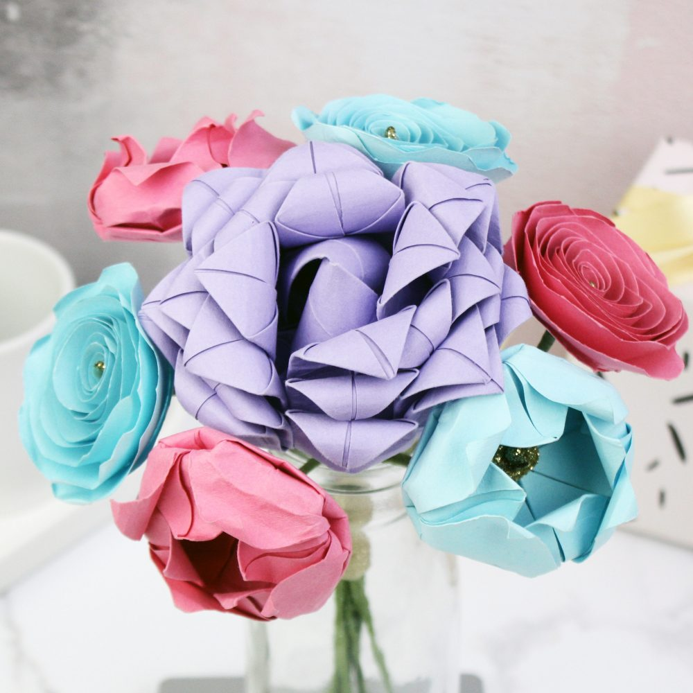 Pastel origami flowers bouquet, hand folded by the origami boutique, London.
