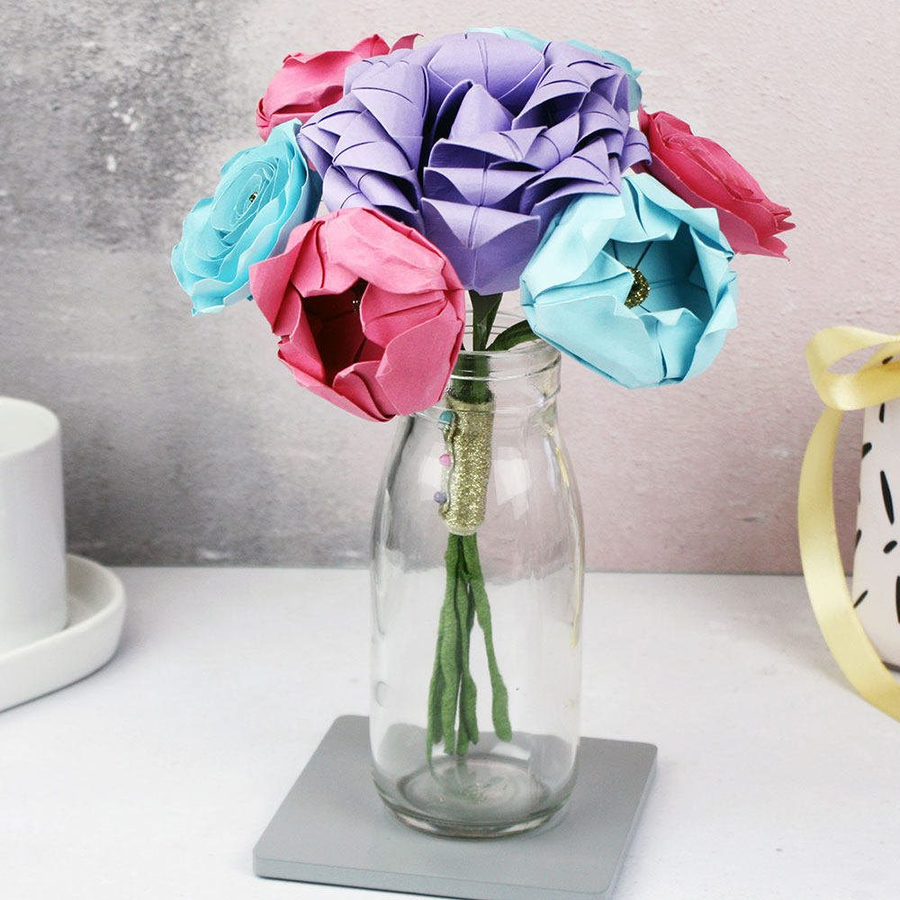 Pastel origami flowers wedding/bridesmaid bouquet, hand folded by the origami boutique, London.