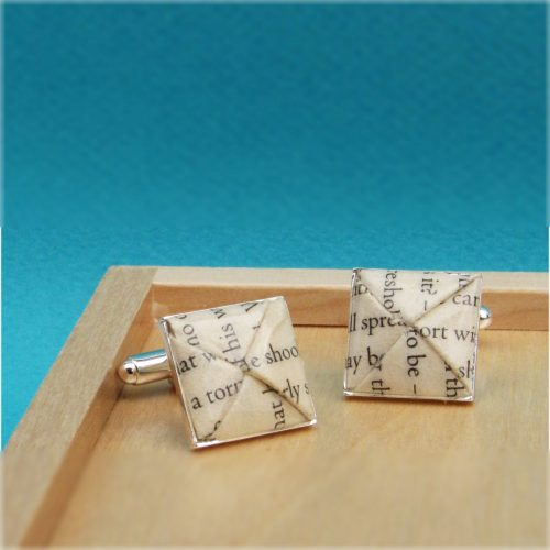 Personalised Paper Origami Cufflinks, handmade by the origami boutique, London